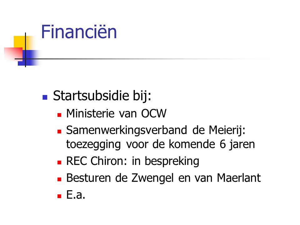 Financiën Startsubsidie bij: Ministerie van OCW