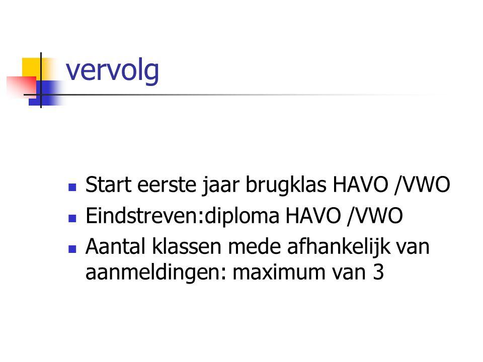 vervolg Start eerste jaar brugklas HAVO /VWO