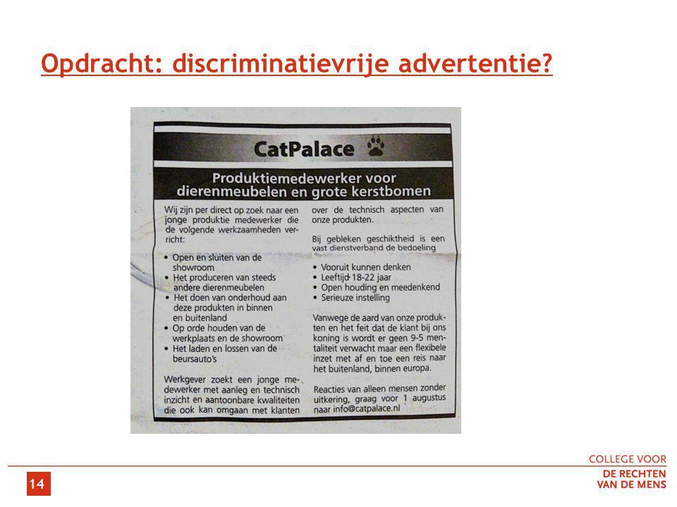 Opdracht: discriminatievrije advertentie