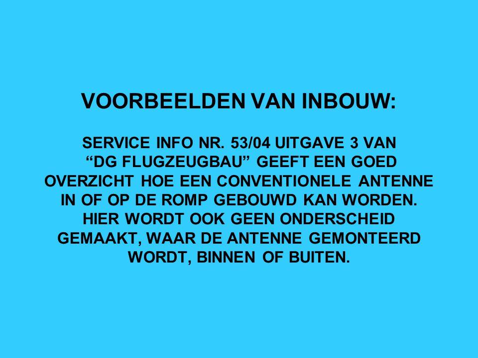 VOORBEELDEN VAN INBOUW: SERVICE INFO NR
