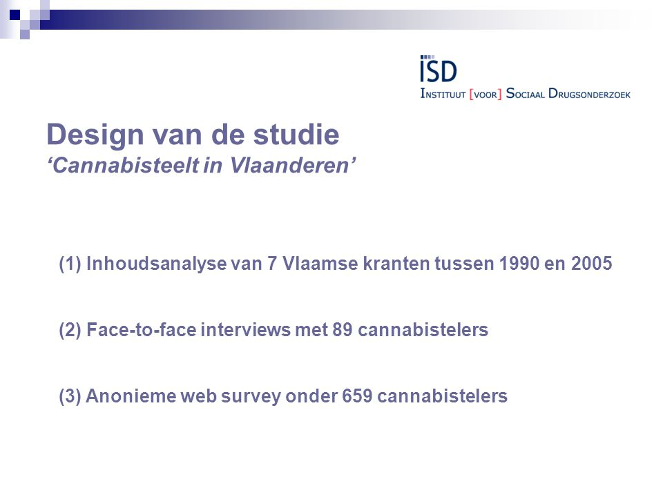 Design van de studie 'Cannabisteelt in Vlaanderen'