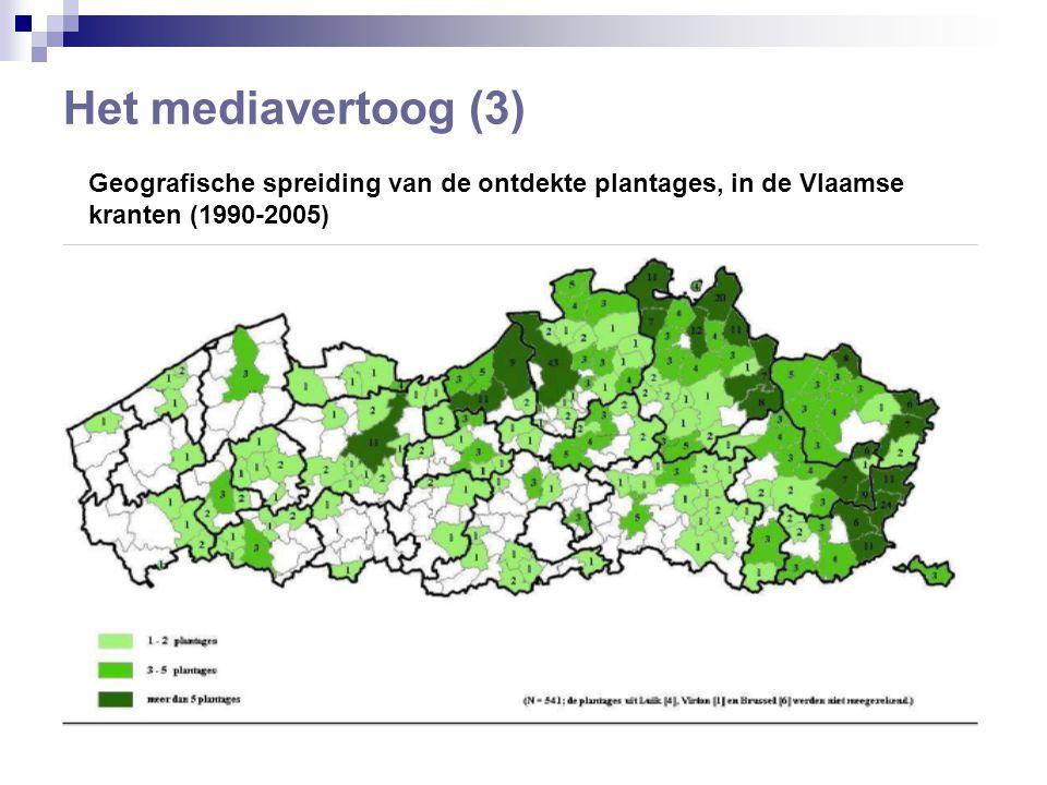 Het mediavertoog (3) Geografische spreiding van de ontdekte plantages, in de Vlaamse kranten (1990-2005)