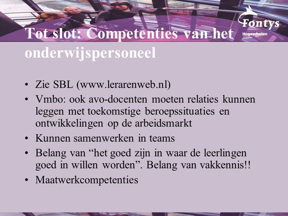 Tot slot: Competenties van het onderwijspersoneel