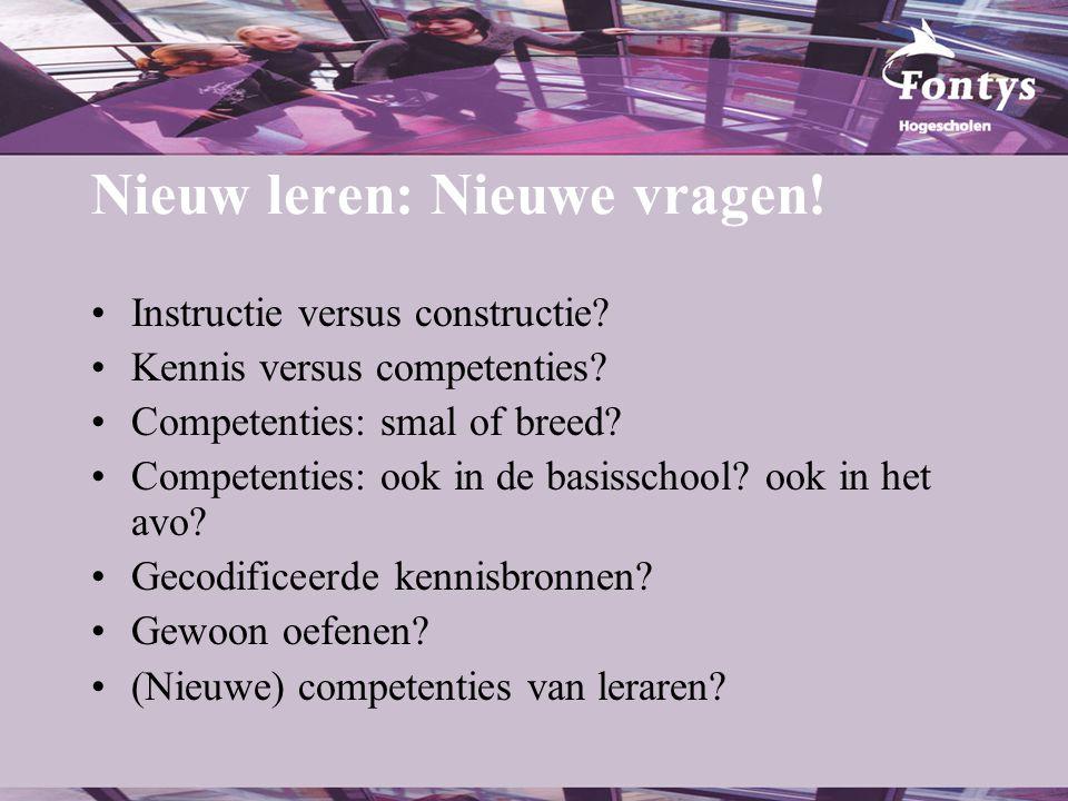 Nieuw leren: Nieuwe vragen!