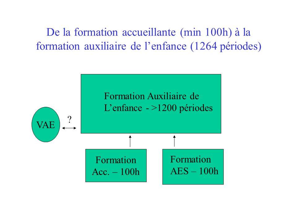 De la formation accueillante (min 100h) à la formation auxiliaire de l'enfance (1264 périodes)