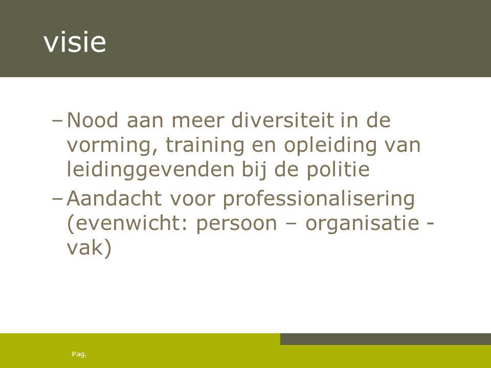 visie Nood aan meer diversiteit in de vorming, training en opleiding van leidinggevenden bij de politie.