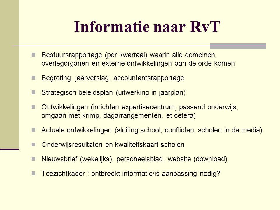 Informatie naar RvT Bestuursrapportage (per kwartaal) waarin alle domeinen, overlegorganen en externe ontwikkelingen aan de orde komen.