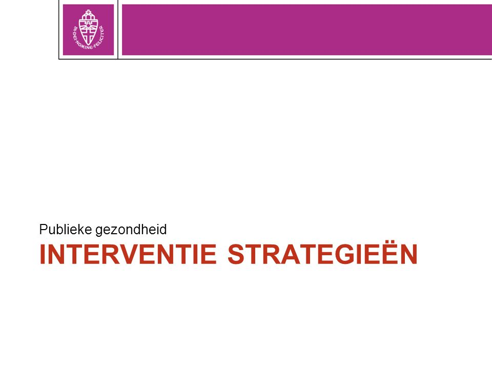 Interventie strategieën