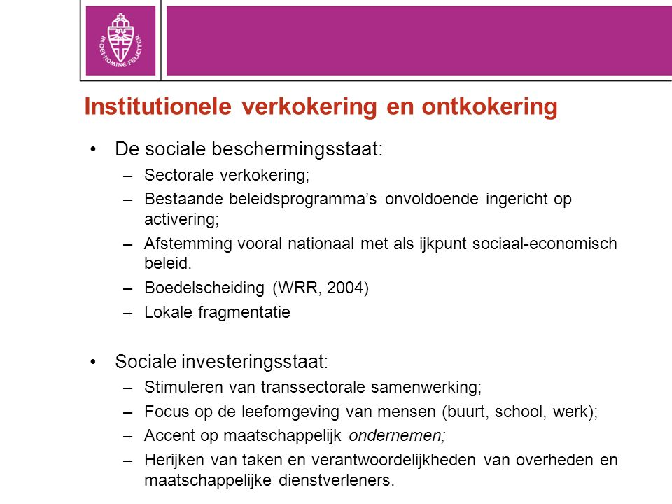Institutionele verkokering en ontkokering