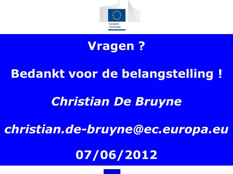 Vragen. Bedankt voor de belangstelling. Christian De Bruyne christian