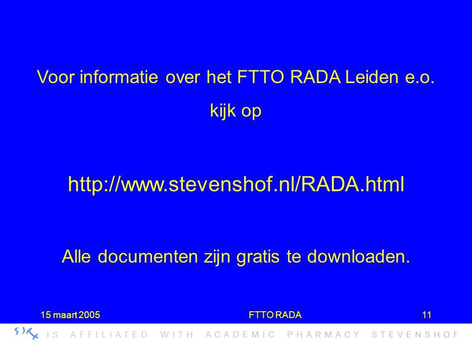 Voor informatie over het FTTO RADA Leiden e.o.