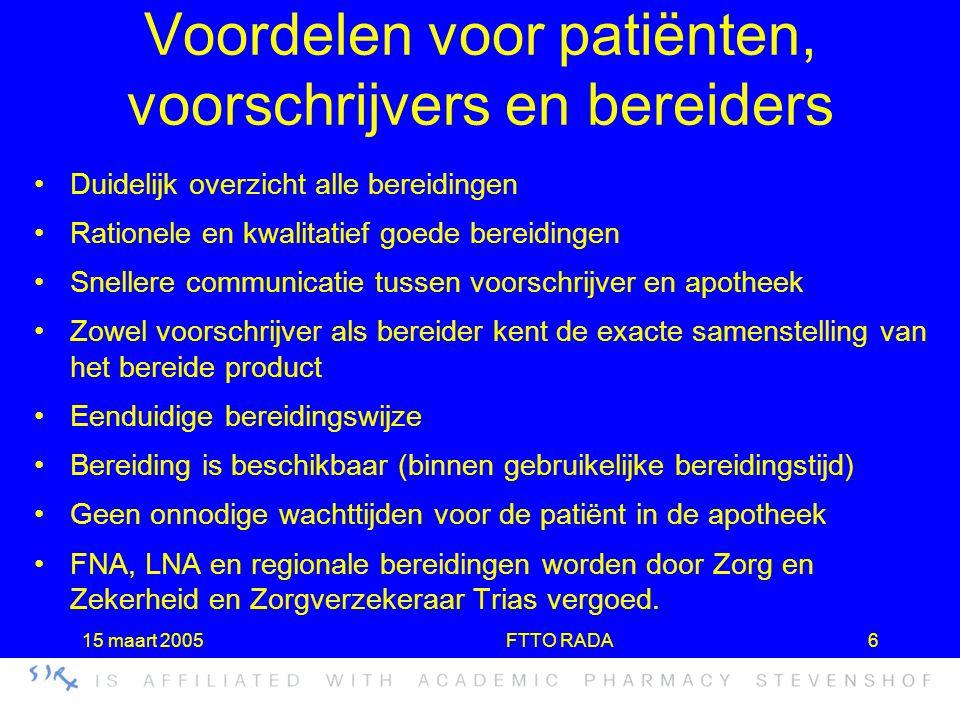 Voordelen voor patiënten, voorschrijvers en bereiders