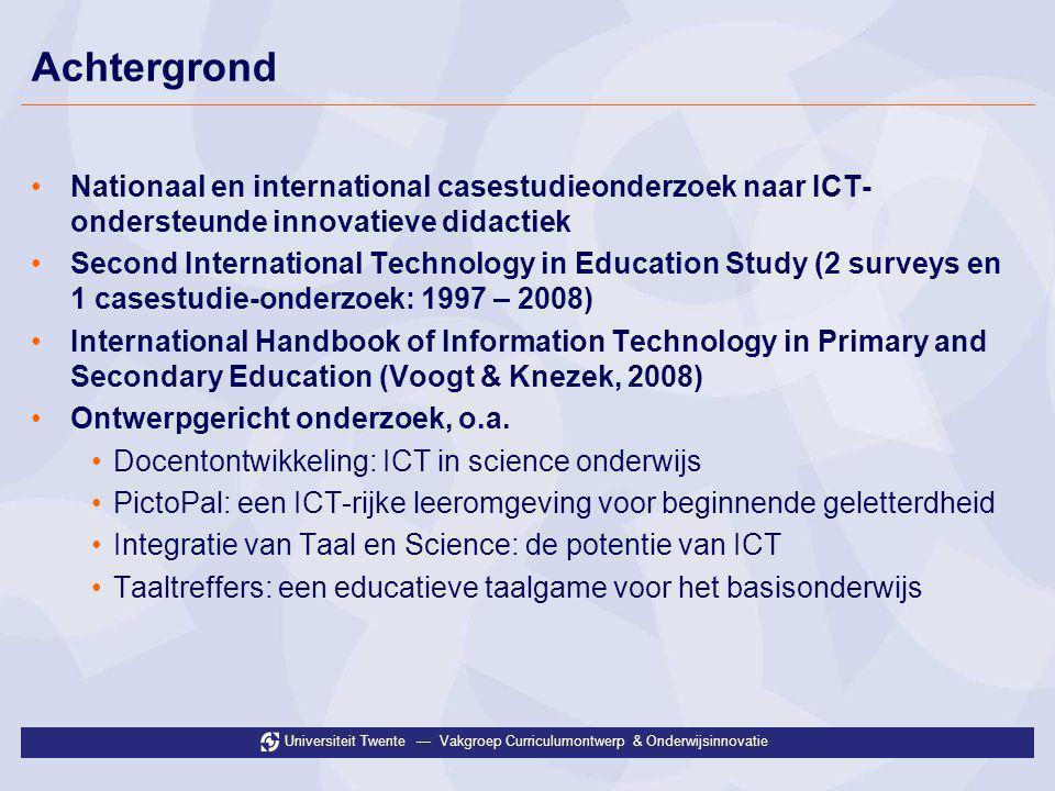 Achtergrond Nationaal en international casestudieonderzoek naar ICT-ondersteunde innovatieve didactiek.