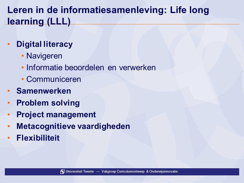 Leren in de informatiesamenleving: Life long learning (LLL)