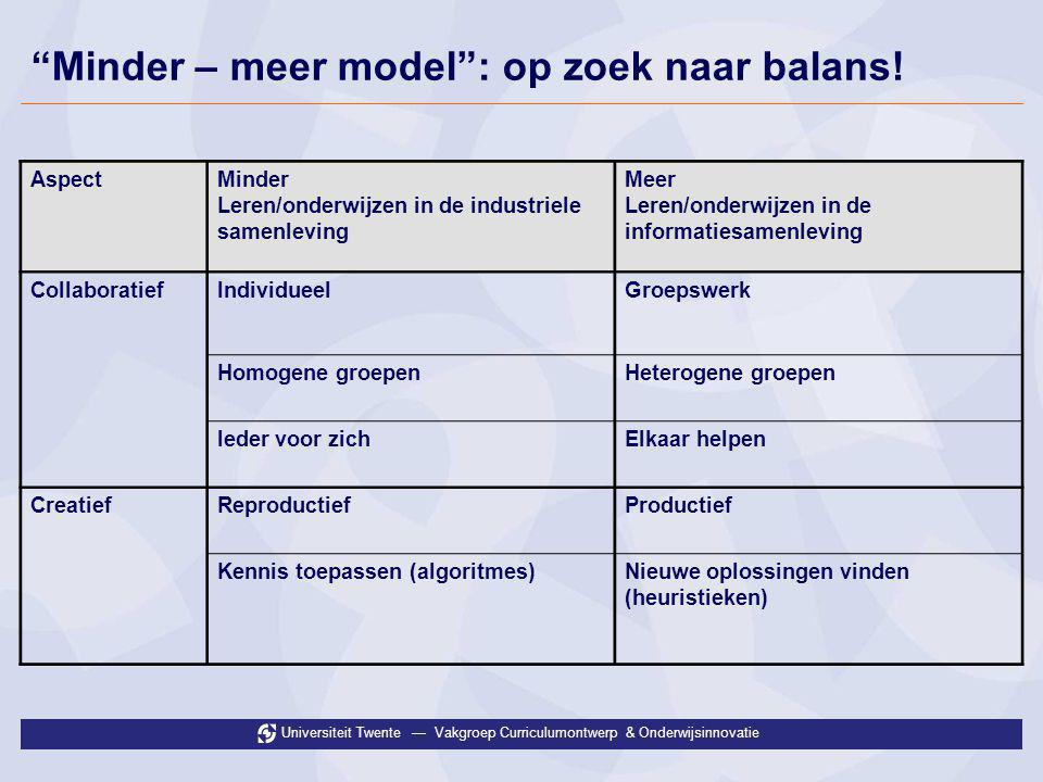 Minder – meer model : op zoek naar balans!