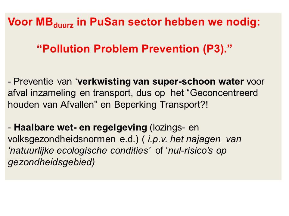 Voor MBduurz in PuSan sector hebben we nodig: