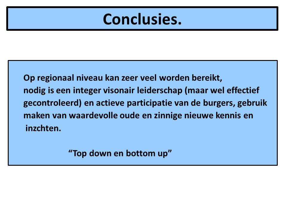Conclusies. Op regionaal niveau kan zeer veel worden bereikt,