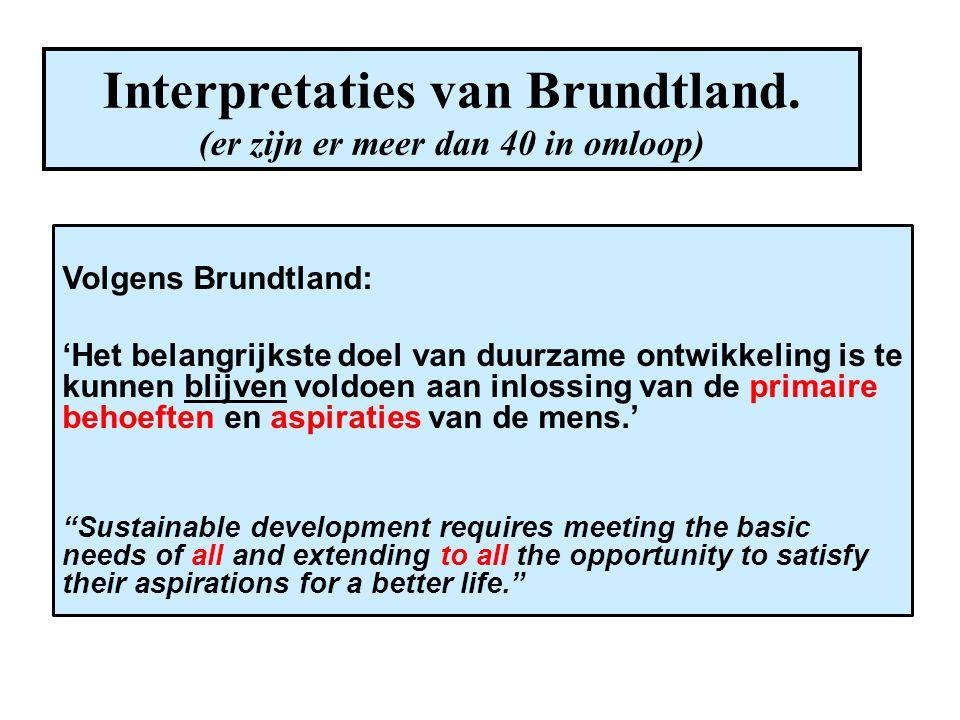 Interpretaties van Brundtland. (er zijn er meer dan 40 in omloop)