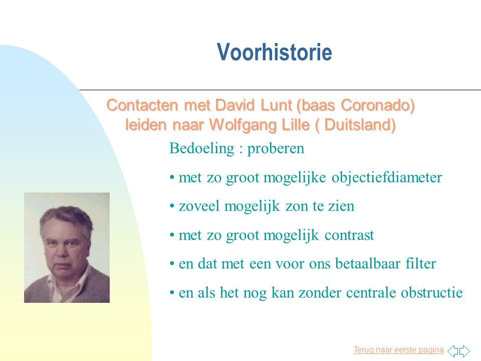 Voorhistorie Contacten met David Lunt (baas Coronado) leiden naar Wolfgang Lille ( Duitsland) Bedoeling : proberen.