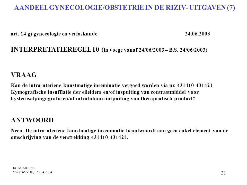 AANDEEL GYNECOLOGIE/OBSTETRIE IN DE RIZIV- UITGAVEN (7)