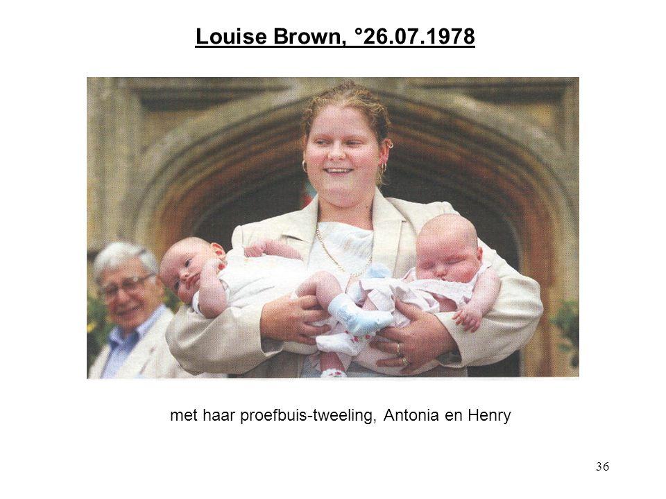 met haar proefbuis-tweeling, Antonia en Henry