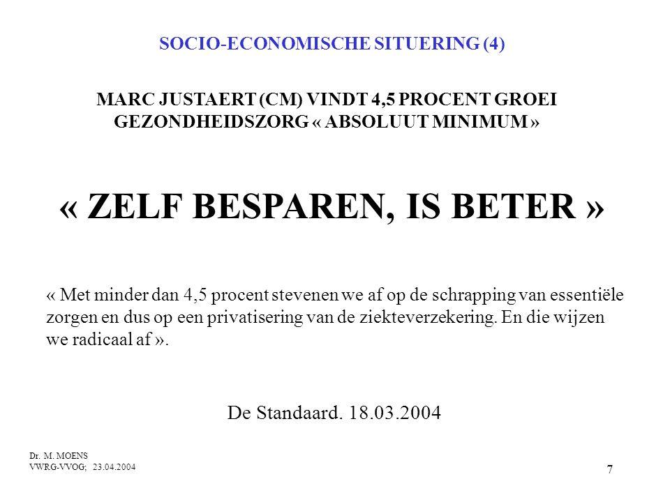 SOCIO-ECONOMISCHE SITUERING (4) « ZELF BESPAREN, IS BETER »