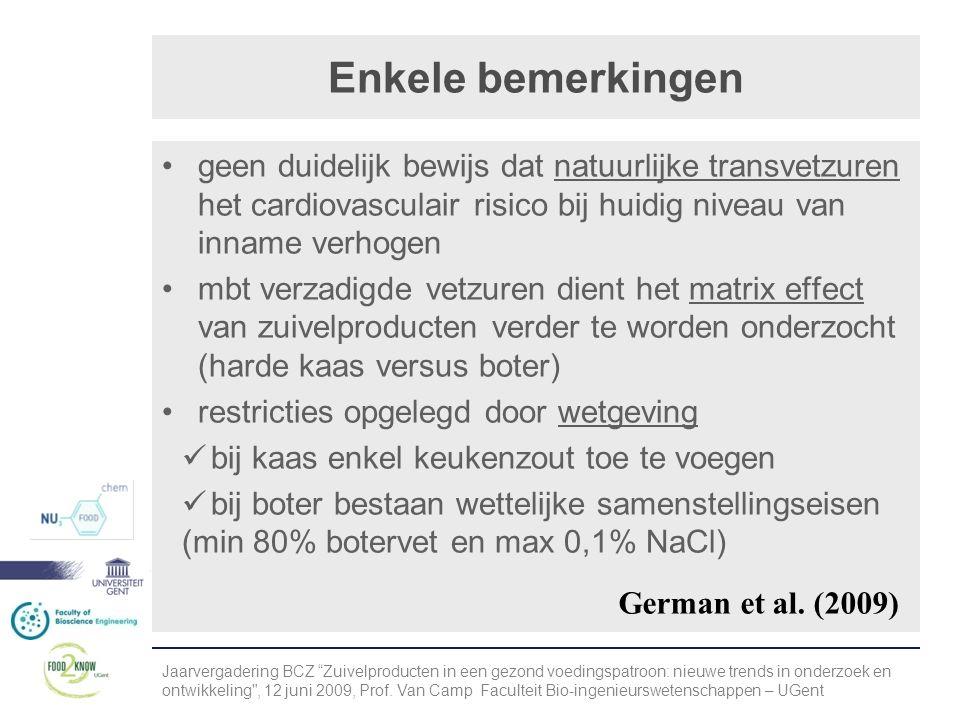 Enkele bemerkingen geen duidelijk bewijs dat natuurlijke transvetzuren het cardiovasculair risico bij huidig niveau van inname verhogen.