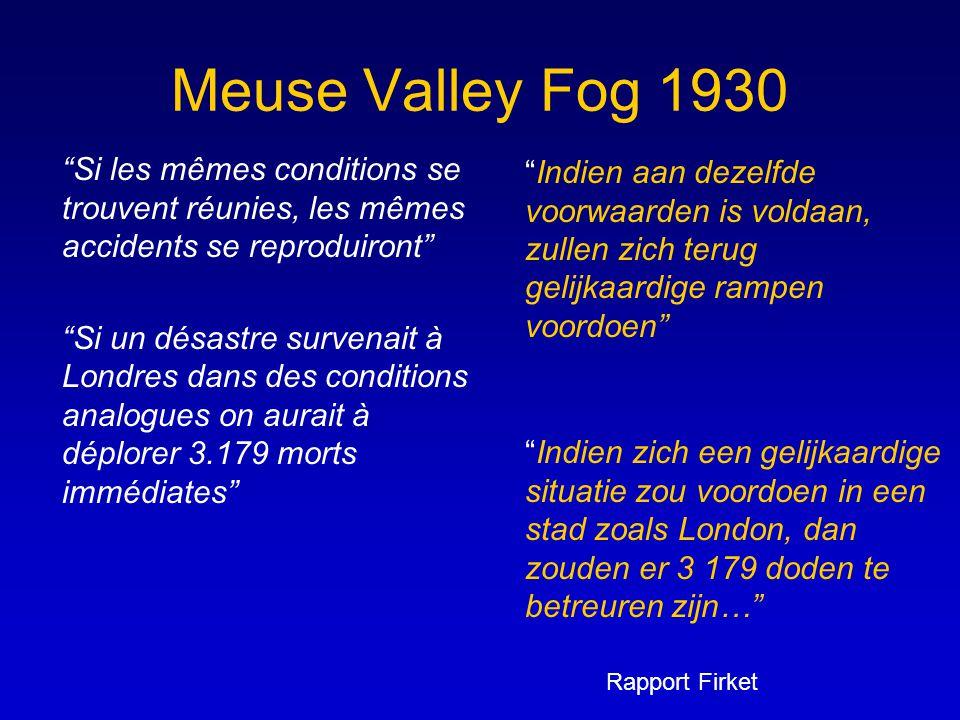 Meuse Valley Fog 1930 Si les mêmes conditions se trouvent réunies, les mêmes accidents se reproduiront