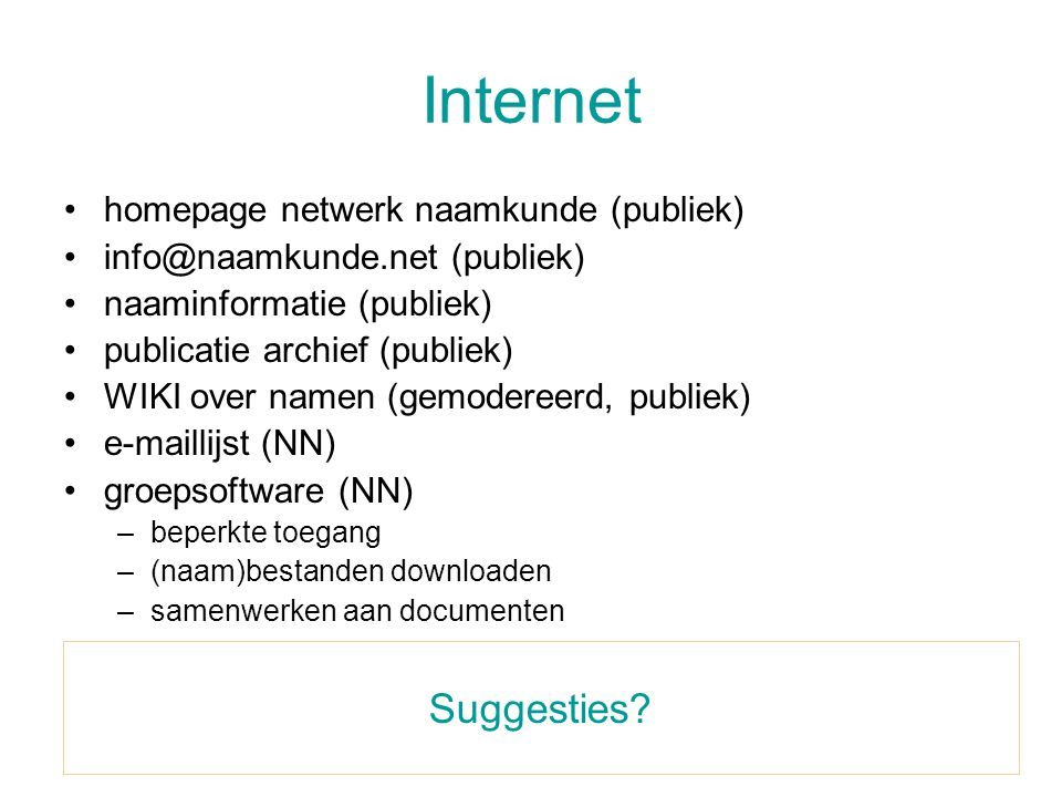 Internet Suggesties homepage netwerk naamkunde (publiek)