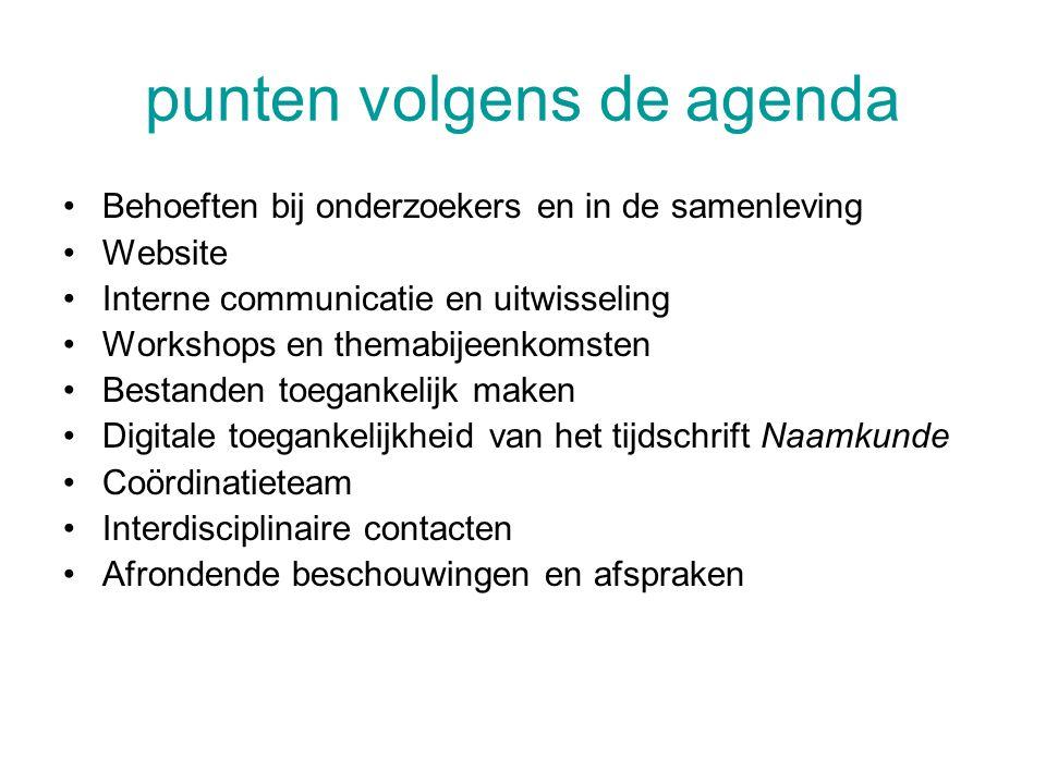 punten volgens de agenda