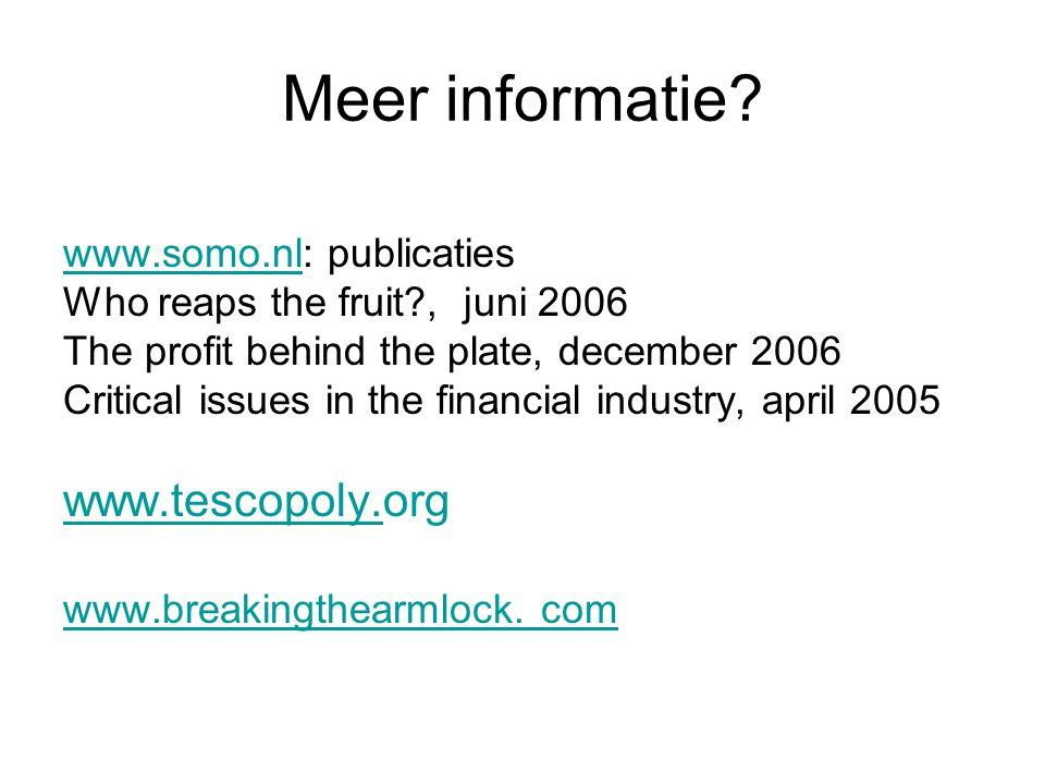 Meer informatie www.tescopoly.org www.somo.nl: publicaties