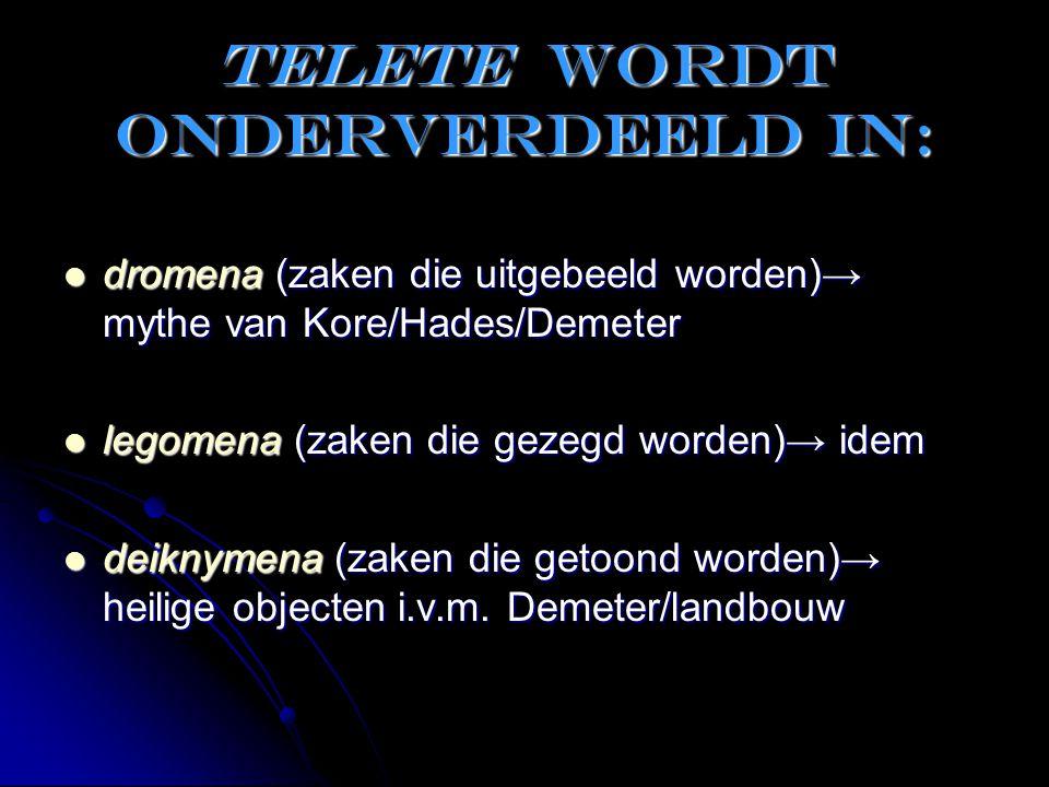 Telete wordt onderverdeeld in: