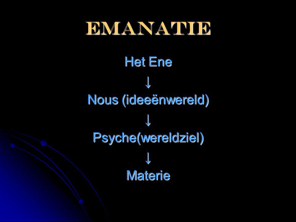 emanatie Het Ene ↓ Nous (ideeënwereld) Psyche(wereldziel) Materie