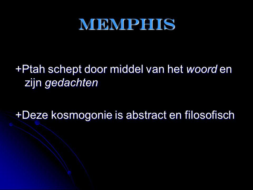 Memphis +Ptah schept door middel van het woord en zijn gedachten
