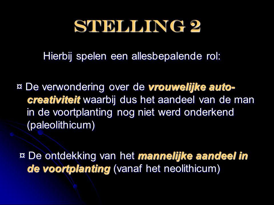 Stelling 2 Hierbij spelen een allesbepalende rol:
