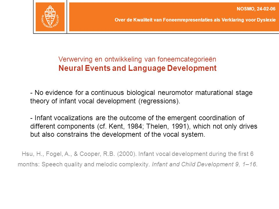 Neural Events and Language Development
