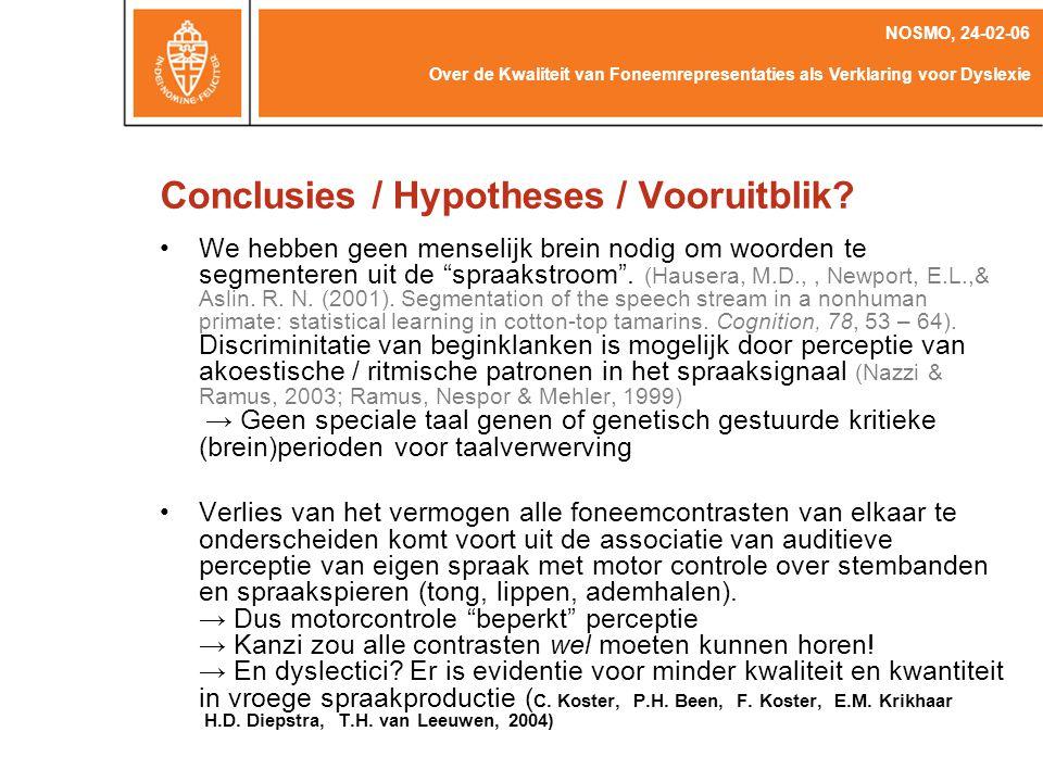 Conclusies / Hypotheses / Vooruitblik