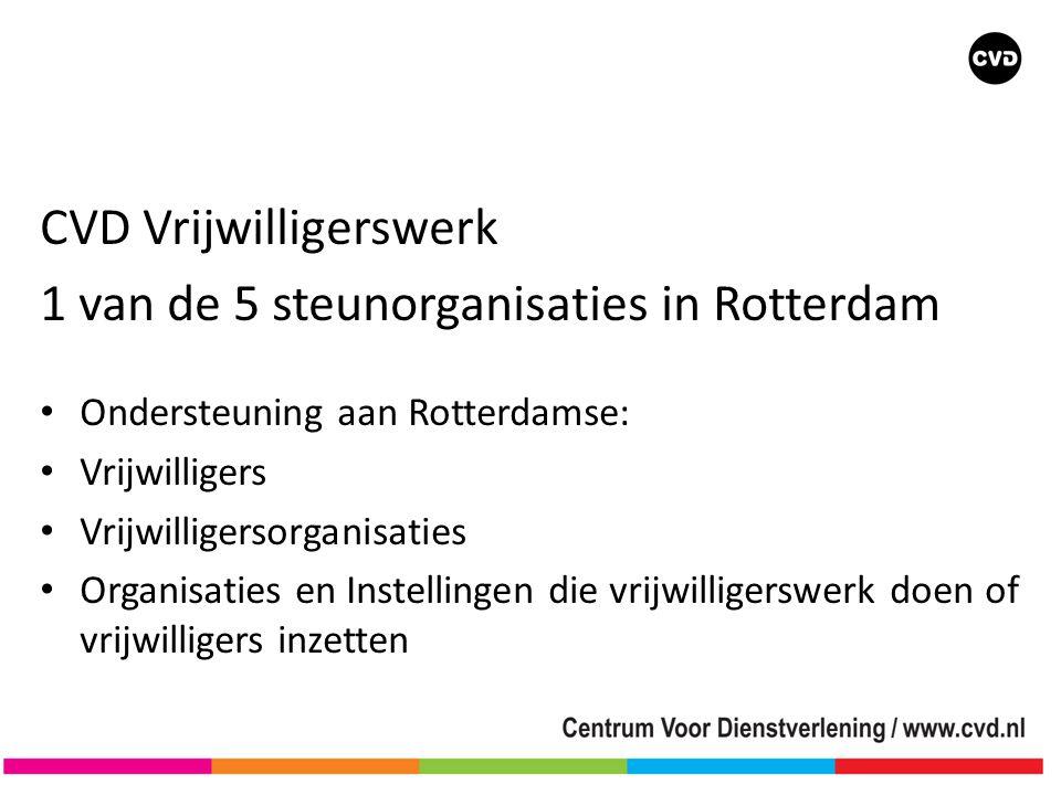 CVD Vrijwilligerswerk 1 van de 5 steunorganisaties in Rotterdam
