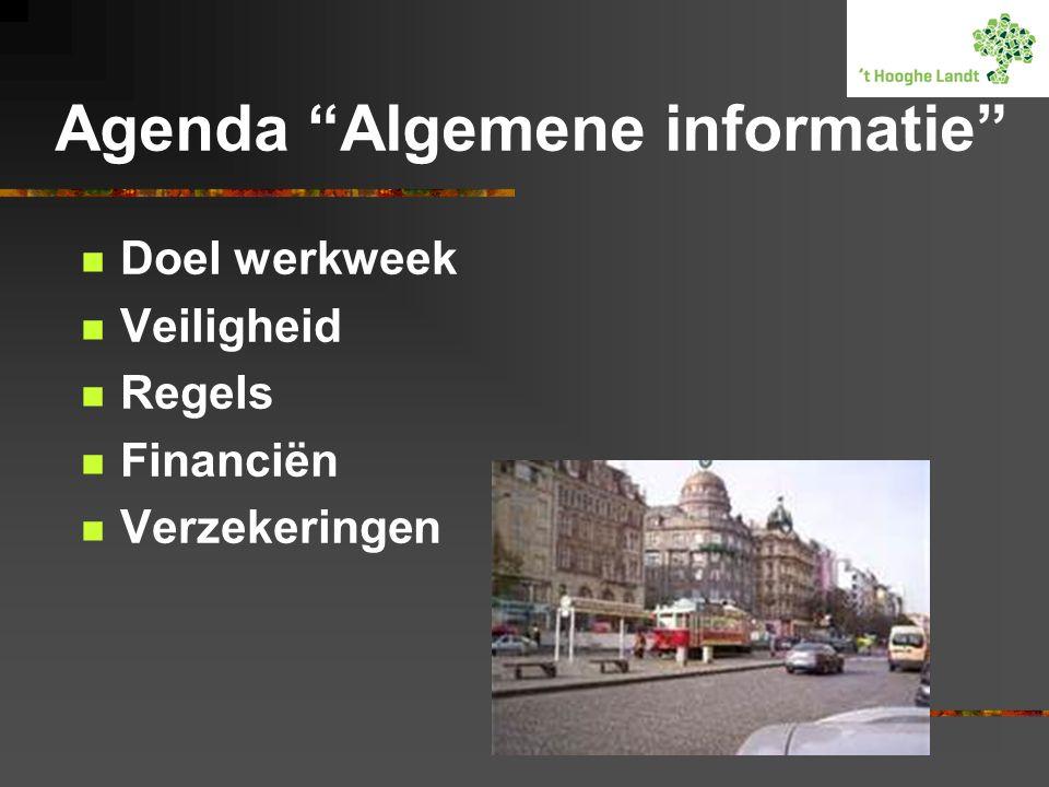 Agenda Algemene informatie