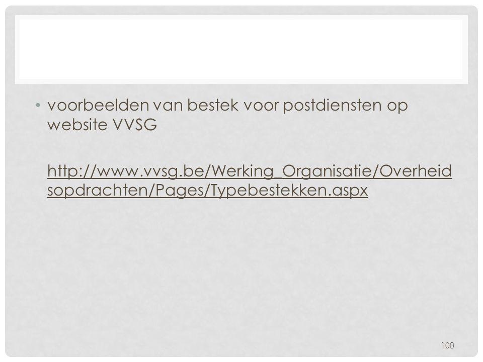 voorbeelden van bestek voor postdiensten op website VVSG