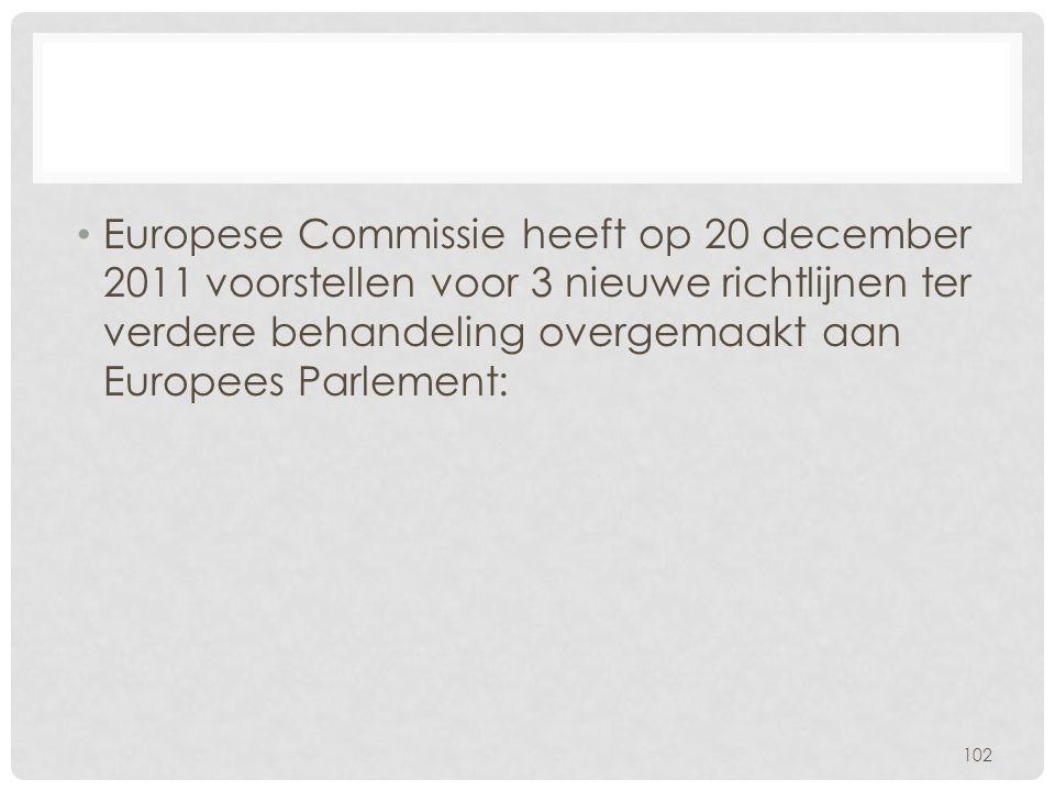 Europese Commissie heeft op 20 december 2011 voorstellen voor 3 nieuwe richtlijnen ter verdere behandeling overgemaakt aan Europees Parlement: