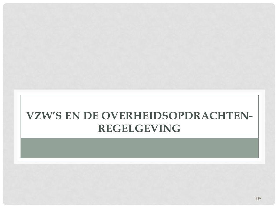VZW's en de overheidsopdrachten- regelgeving
