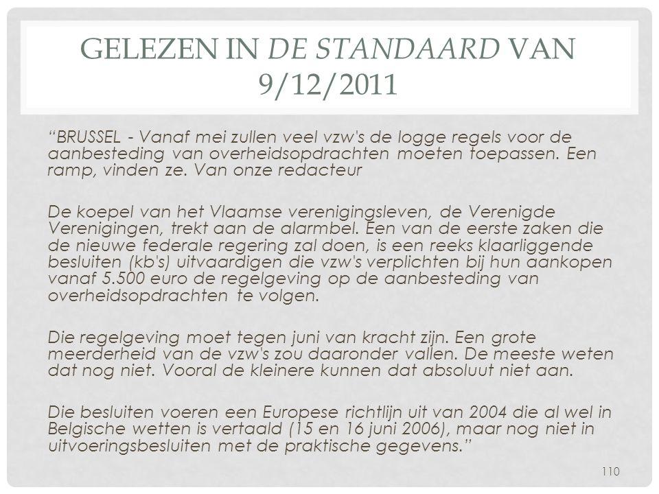 Gelezen in De Standaard van 9/12/2011