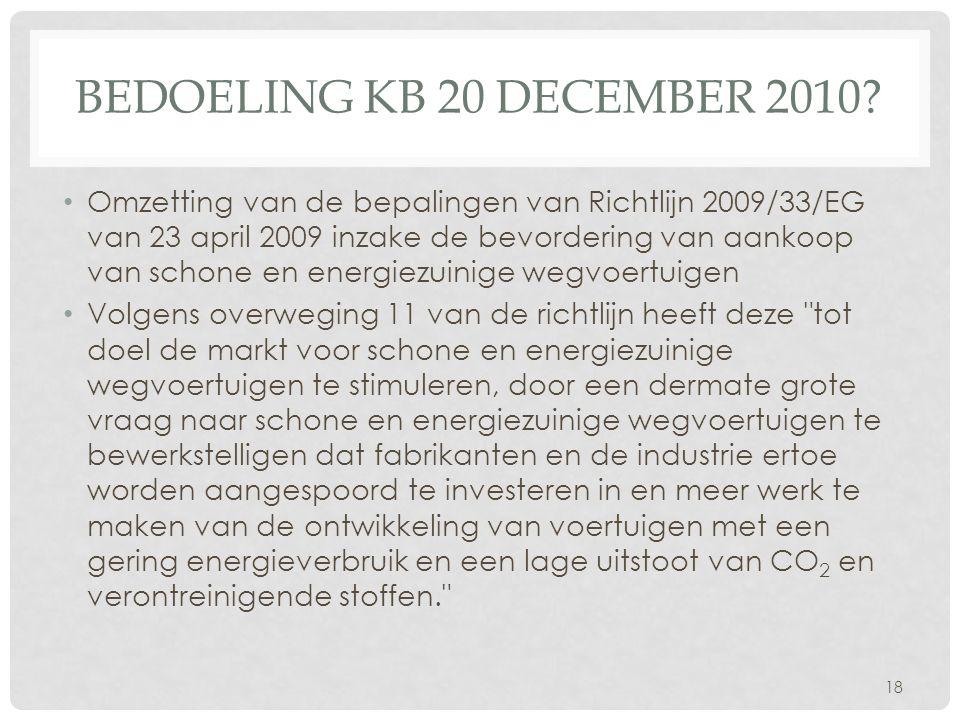Bedoeling KB 20 december 2010