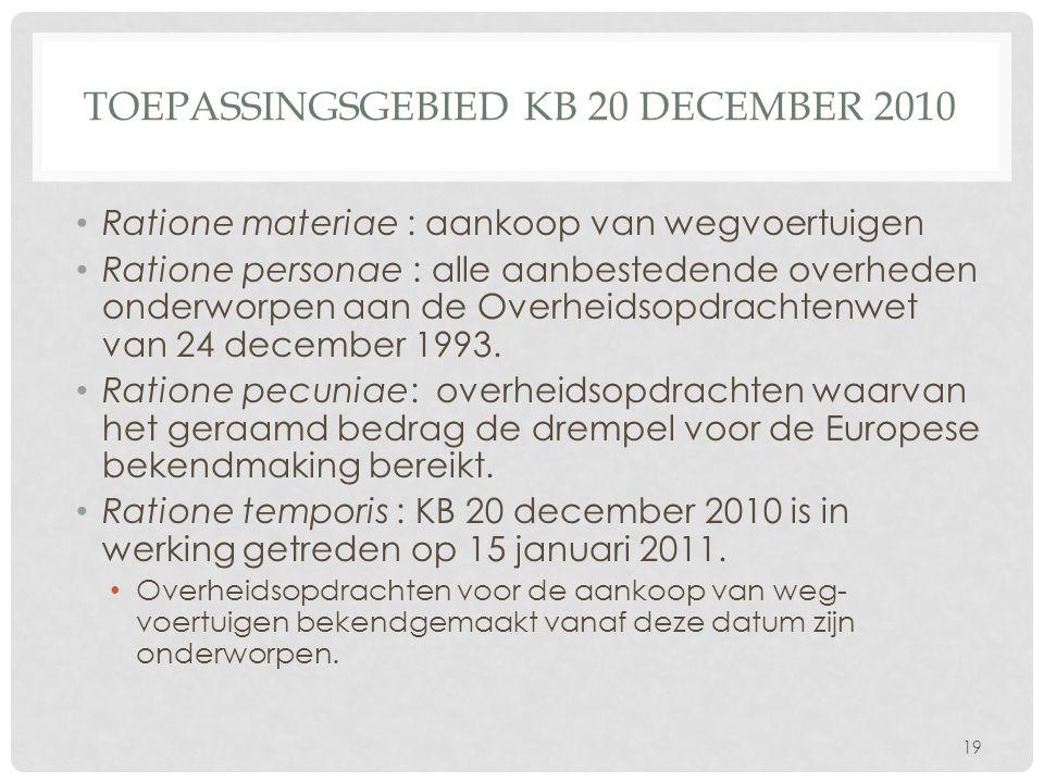 Toepassingsgebied KB 20 december 2010