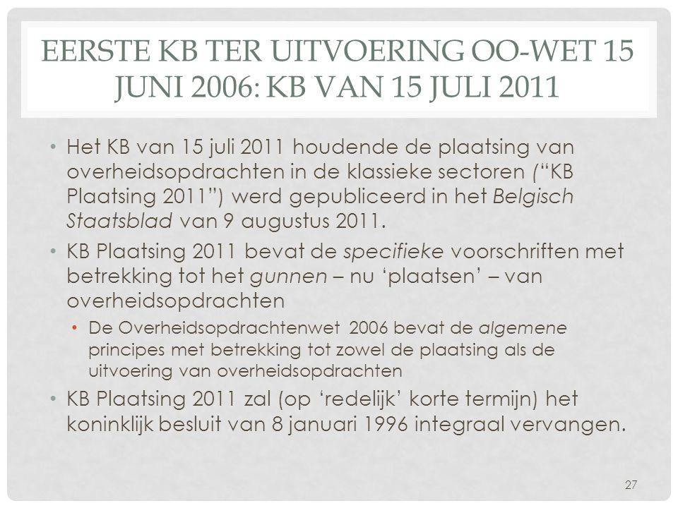EersTE kb ter uitvoering OO-wet 15 juni 2006: KB van 15 juli 2011