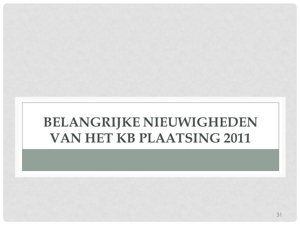 Belangrijke nieuwigheden van het KB Plaatsing 2011