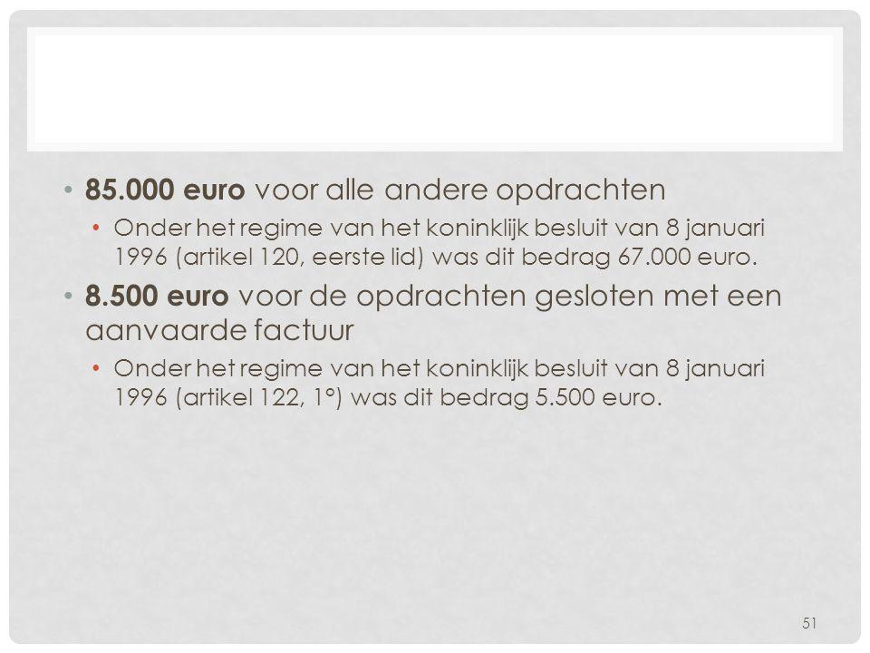 85.000 euro voor alle andere opdrachten