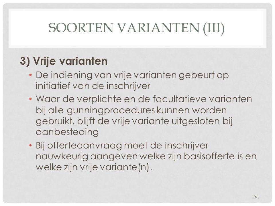 Soorten varianten (III)
