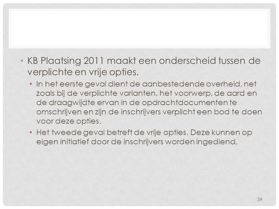 KB Plaatsing 2011 maakt een onderscheid tussen de verplichte en vrije opties.